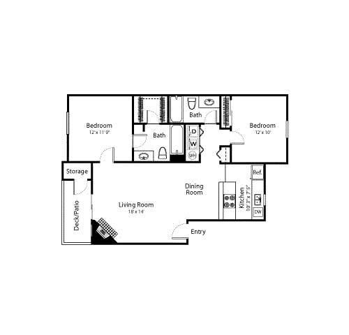 Floor Plan  2 Bed - 2 Bath, 989 sq ft, Summit floorplan