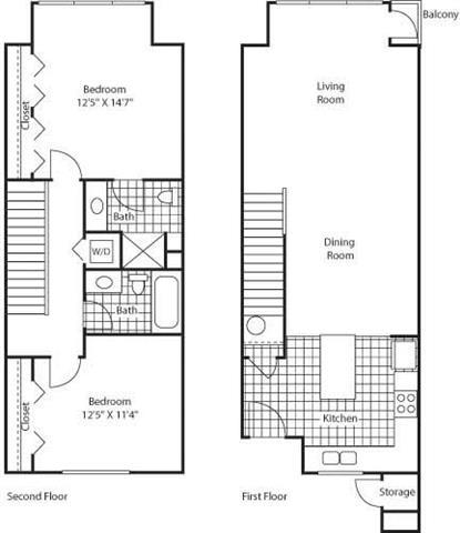 Floor Plan  2 Bed 2 Bath Floor Plan at Bella Terra Apartments, Mukilteo, 98275