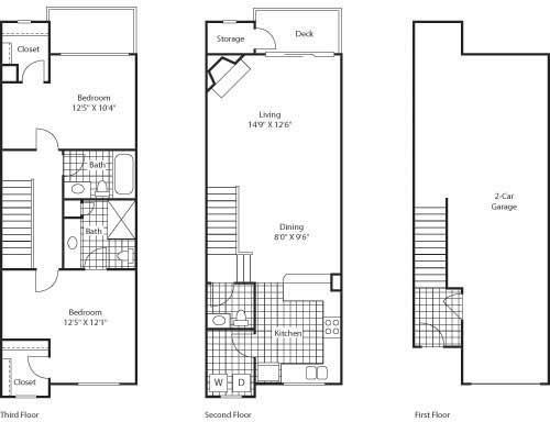 Floor Plan  2 Bed 2.5 Bathroom Floor Plan at Bella Terra Apartments, Washington, 98275