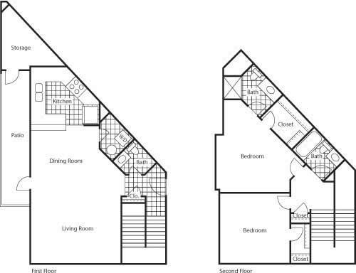Floor Plan  Florence 1150 2 Bed 2.5 Bathroom Floor Plan at Bella Terra Apartments, Mukilteo, WA, 98275
