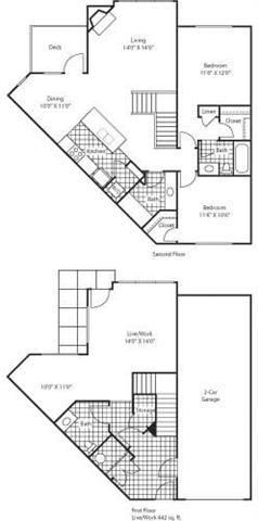 Floor Plan  Florence 1438 2 Bed 2.5 Bathroom Floor Plan at Bella Terra Apartments, Mukilteo, WA