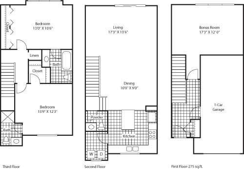 Floor Plan  Florence 1439 2 Bed 2.5 Bathroom Floor Plan at Bella Terra Apartments, Mukilteo, 98275