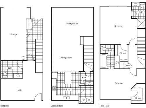 Floor Plan  Florence 1461 2 Bed 2.5 Bathroom Floor Plan at Bella Terra Apartments, Mukilteo, Washington