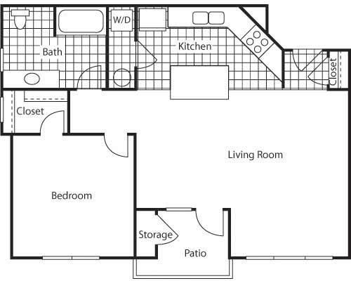 Floor Plan  1 Bed - 1 Bath |712 sq ft - Naples 712 Floorplan at Bella Terra Apartments