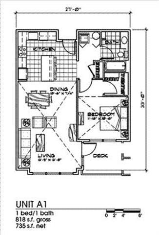 1 Bed 1 Bath Floor Plan at Bella Terra Apartments, Washington
