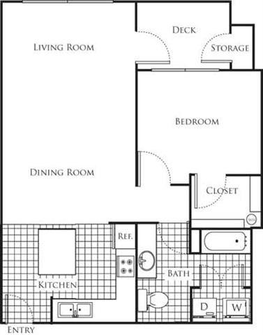 Floor Plan  1 Bedroom 1 Bathroom Floor Plan at Bella Terra Apartments, Washington, 98275