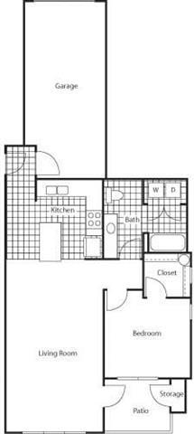 Floor Plan  1 Bedroom 1 Bath Floor Plan at Bella Terra Apartments, Mukilteo