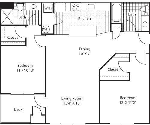 Floor Plan  Venice 2 Bed 2 Bath Floor Plan at Bella Terra Apartments, Mukilteo