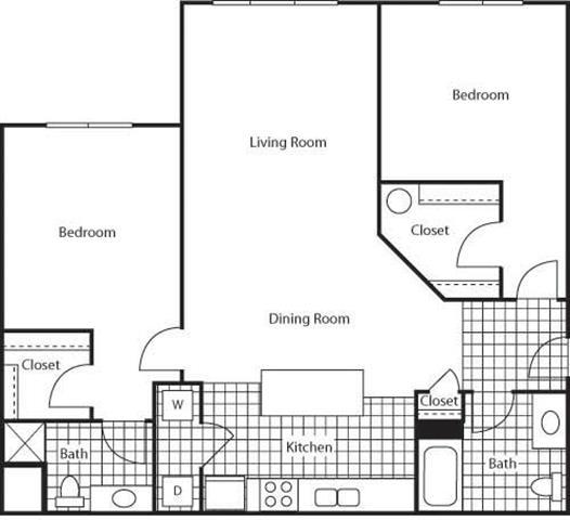 Floor Plan  2 Bedroom 2 Bathroom Floor Plan at Bella Terra Apartments, Mukilteo, Washington