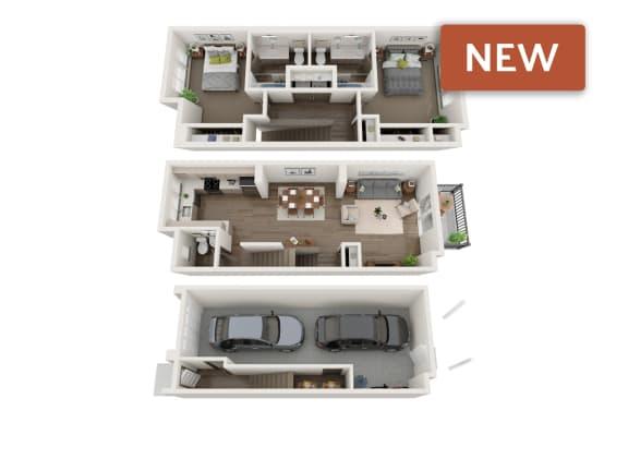 Floor Plan  3d floorplan of 2 bedroom townhome at sawyer trail