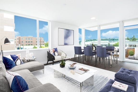 Living Room Layout  at Shelton Eastlake apartments in Seattle, Washington