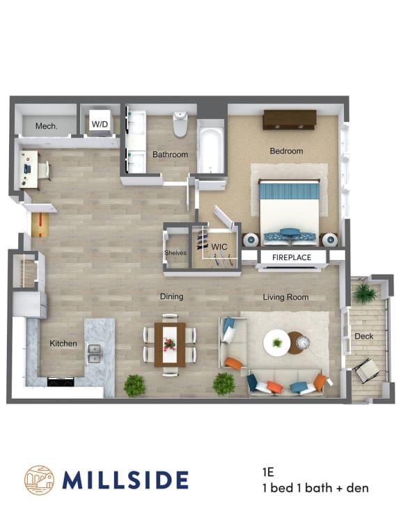Floor Plan  Millside One Bedroom One Bath Floor Plan