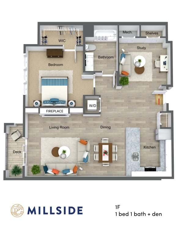 Millside One Bedroom One Bathroom with Study and Balcony Deck