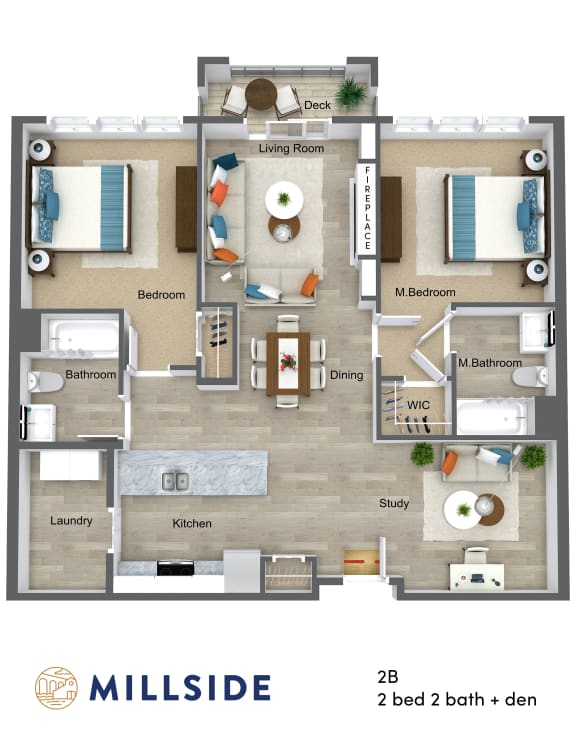 Millside Two Bedroom Two Bathroom with Study and Balcony Deck