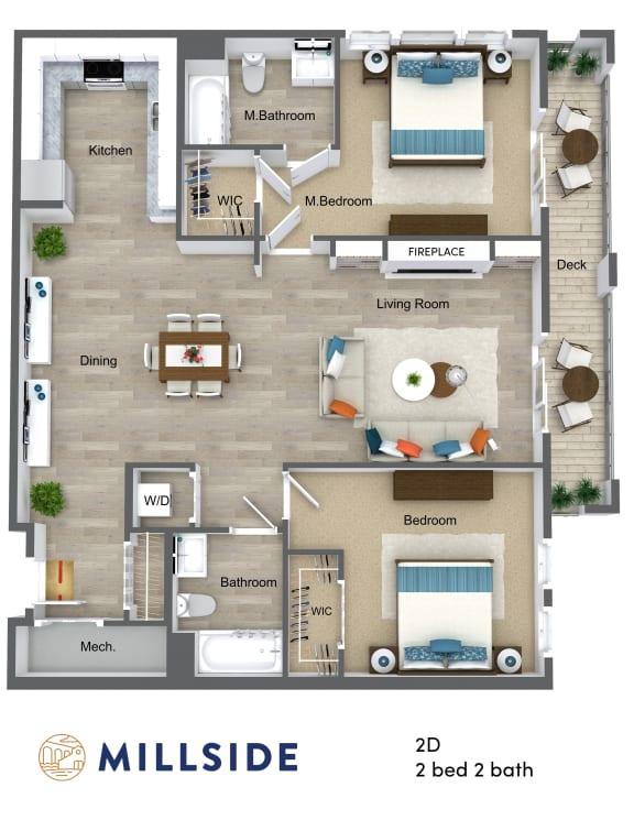 Millside Two Bedroom Two Bathroom with Balcony