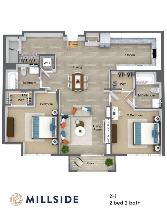Floor Plan  Millside Two Bedroom Two Bathroom with Balcony