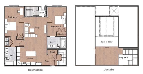 Floor Plan  2 Bedroom 2 Bath Loft Sto Floor Plan Upstairs Downstairs Layou