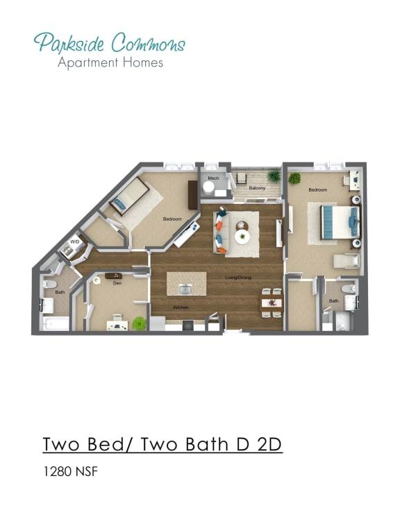Floor Plan  1280 SQ FT 2X2