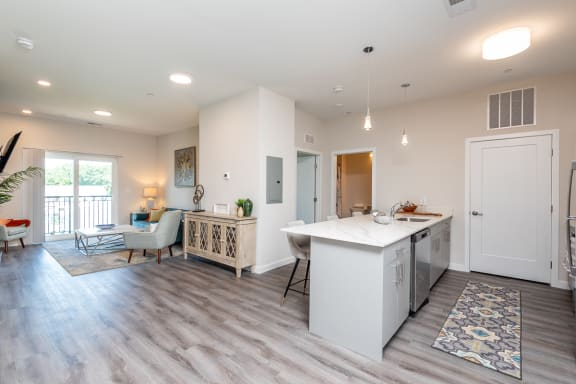 Millside in canton heritage park one bedroom apartment kitchen and living room