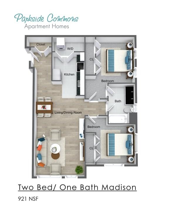 Floor Plan  921 SQ FT 2 BED X 1 BA