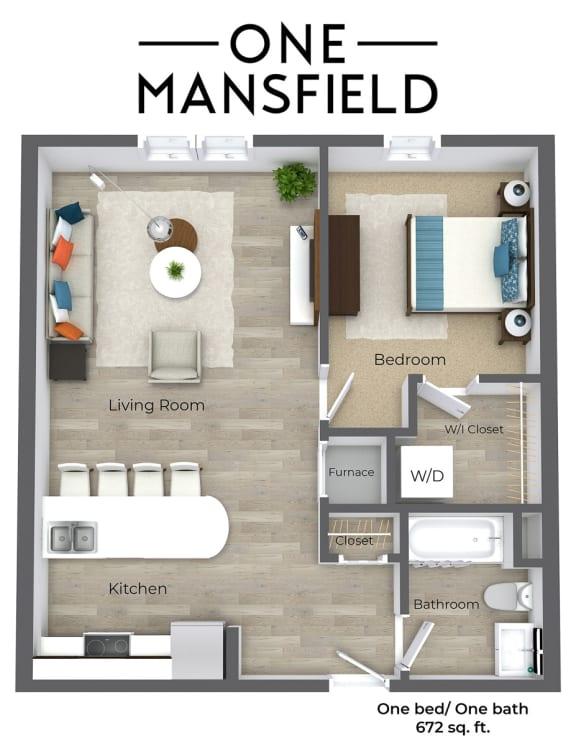 Floor Plan  One Mansfield One Bedroom floor plan