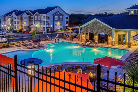 Resort style pool aerial shot at Colonnade of Eastern Shore Apartment HOmes