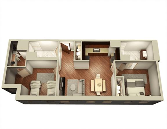 Floor Plan  2 Bed 2 Bath 987 sqft 3D Floor Plan at Somerset Place Apartments, Illinois