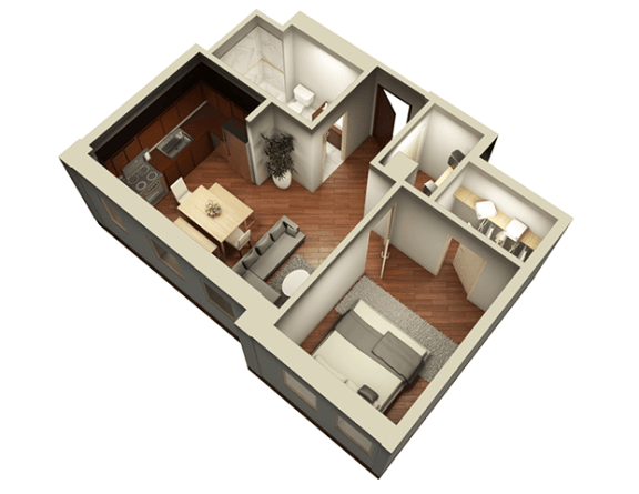 Floor Plan  1 Bed 1 Bath 576 sqft 3D Floor Plan at Somerset Place Apartments, Chicago, IL, 60640