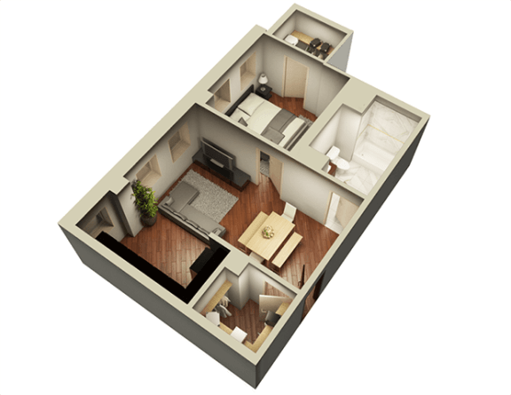 Floor Plan  1 Bed 1 Bath 632 sqft 3D Floor Plan at Somerset Place Apartments, Chicago, 60640