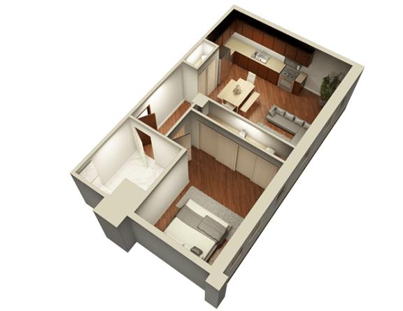 Floor Plan  1 Bed 1 Bath 700 sqft 3D Floor Plan at Somerset Place Apartments, Chicago