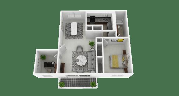 Floor Plan  1 bedroom, 1 bathroom plus den at Olde Towne Apartments in Middletown, OH