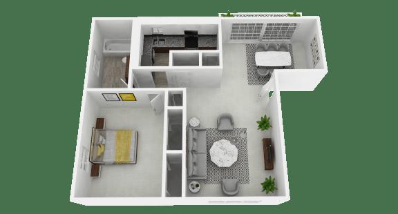 Floor Plan  Spacious 1 Bedroom, 1 Bathroom at Olde Towne Apartments in Middletown, OH