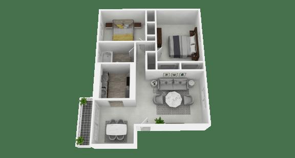 Floor Plan  Spacious two bedroom, 1 bathroom at Olde Towne Apartments in Middletown, OH