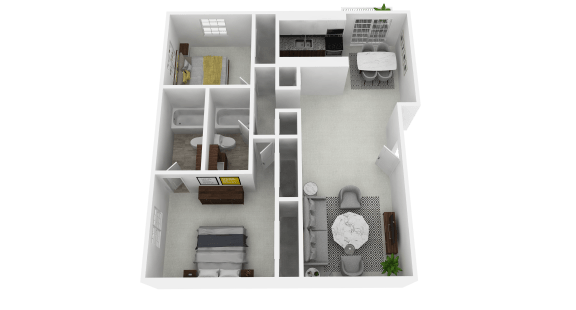 Floor Plan  Spacious two bedroom, two bathroom at Olde Towne Apartments in Middletown, OH