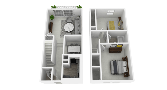 Floor Plan  Two Bedroom, One and a Half Bathroom at Olde Towne Apartments in Middletown, OH