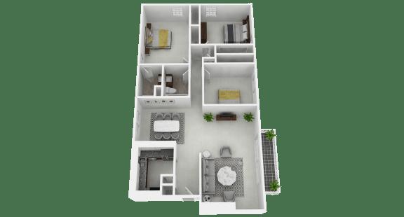 Floor Plan  Spacious 3 bedroom, 2 bathroom flat apartment at Olde Towne Apartments in Middletown, OH