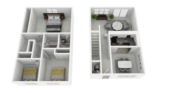 Floor Plan  3 Bedroom 2 Bathroom Townhome at Olde Towne Apartments in Middletown, OH