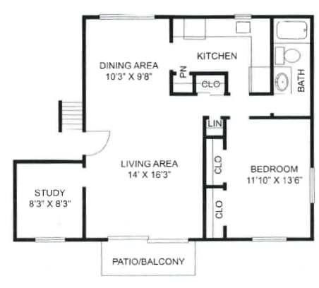 One bedroom, one bathroom with den at Olde Towne Apartments in Middletown, OH