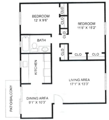 2 Bedroom, 1 Bathroom Type A at Olde Towne Apartments in Middletown, OH