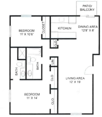 2 Bedroom, 2 Bathroom Type A at Olde Towne Apartments in Middletown, OH
