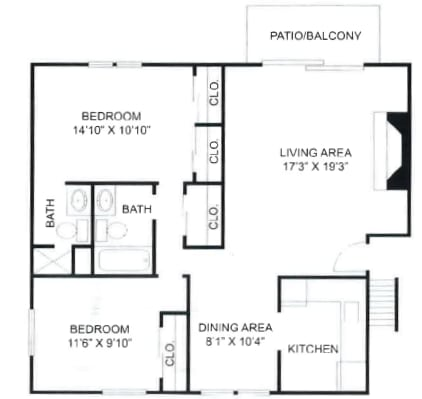 2 Bedroom, 2 Bathroom Type B at Olde Towne Apartments in Middletown, OH