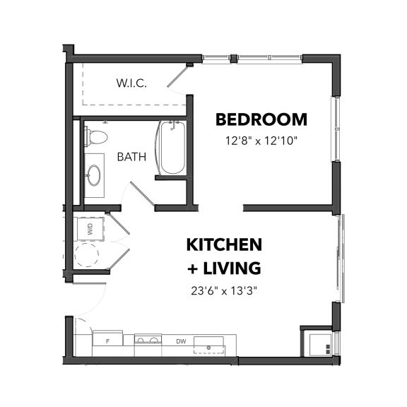 Floor Plan  The 1 bedroom 1 (Blue)