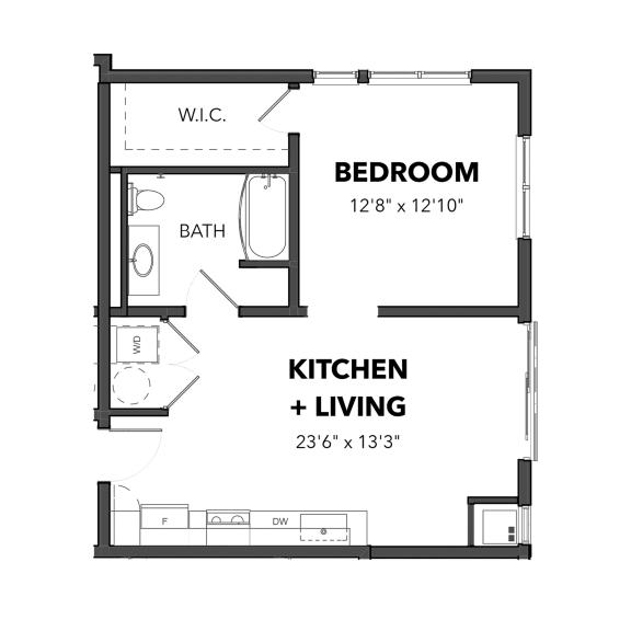 Floor Plan  Bakery Living A1, apartments in Pittsburgh, Pennsylvania