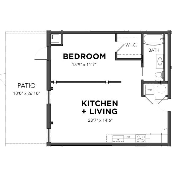 Floor Plan  Bakery Living One Bedroom 10, apartments in Pittsburgh, Pennsylvania 15206