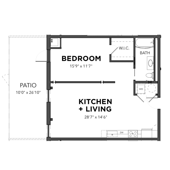 Floor Plan  Bakery Living A10, apartments in Shadyside Pittsburgh, PA
