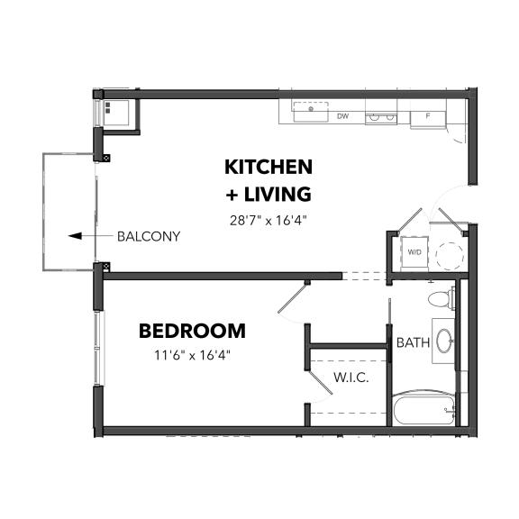 Floor Plan  Bakery Living One Bedroom 3, apartments in Pittsburgh, Pennsylvania