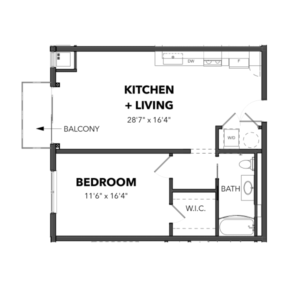 Floor Plan  Bakery Living A3, apartments in Pittsburgh, Pennsylvania