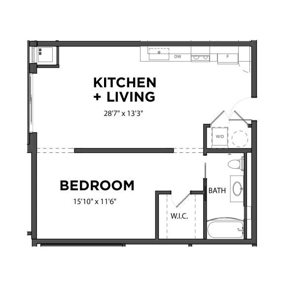 Floor Plan  Bakery Living One Bedroom 4, apartments in Pittsburgh, Pennsylvania