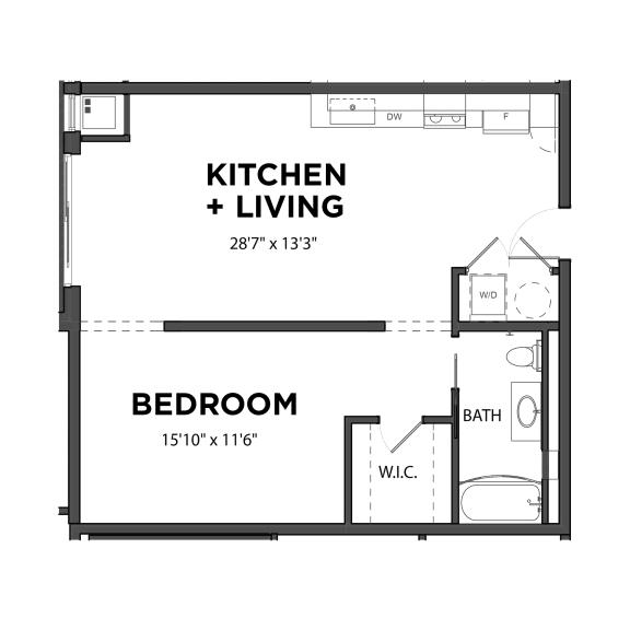 Floor Plan  Bakery Living A4, apartments in Pittsburgh, Pennsylvania