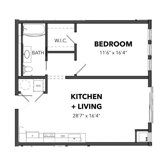 Floor Plan  Bakery Living A5, apartments in Pittsburgh, Pennsylvania